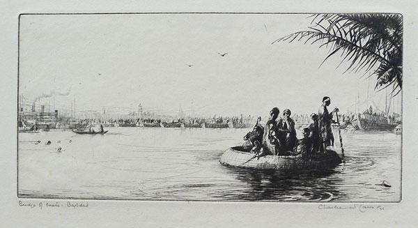 Etching: Bridge of Boats, Bagdad