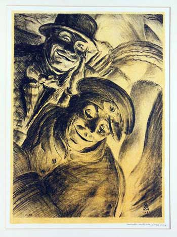 Lithograph of burlesque clowns by Kenneth Hartwell