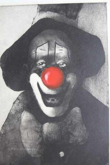 Clown aquatint by Uwe Golk