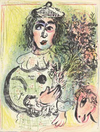 Clown with Flowers by Marc Chagall