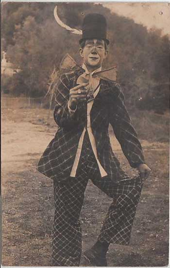 Postcard of a French clown in a large hat