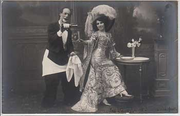 Postcard of a French clown with Miss Ravizza
