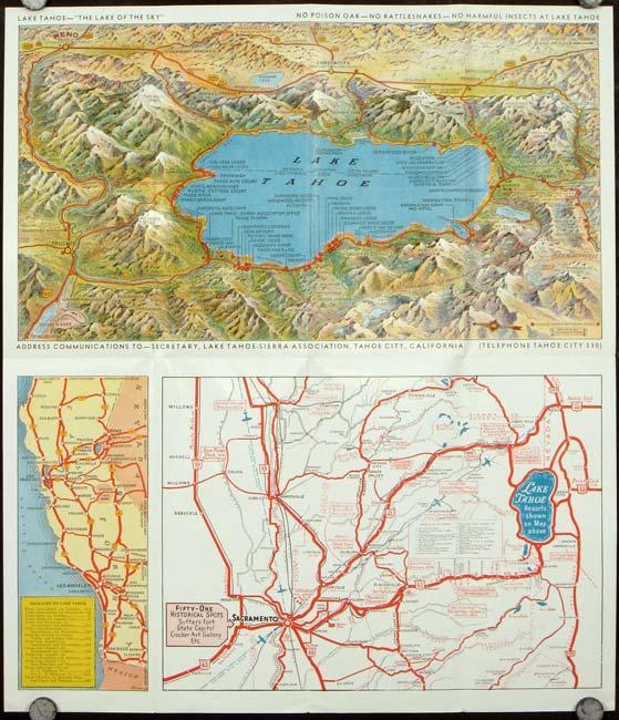 Map of Lake Tahoe 1930s