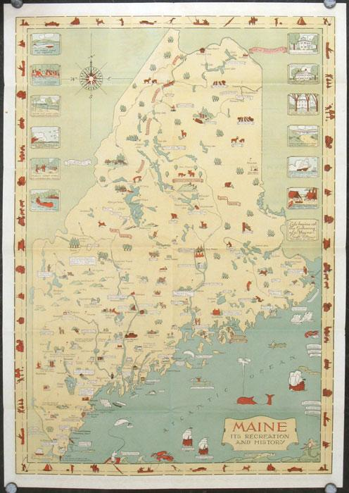 Pictorial Map of Maine 1935