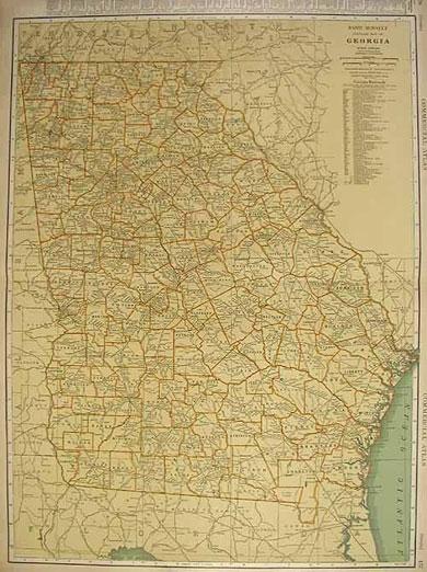 Rand McNally Standard Map of Georgia 1932