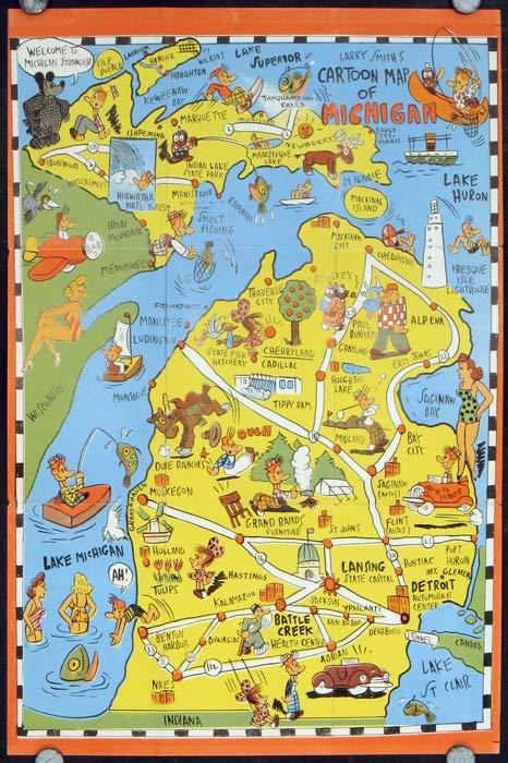 Cartoon Map of Michigan 1949
