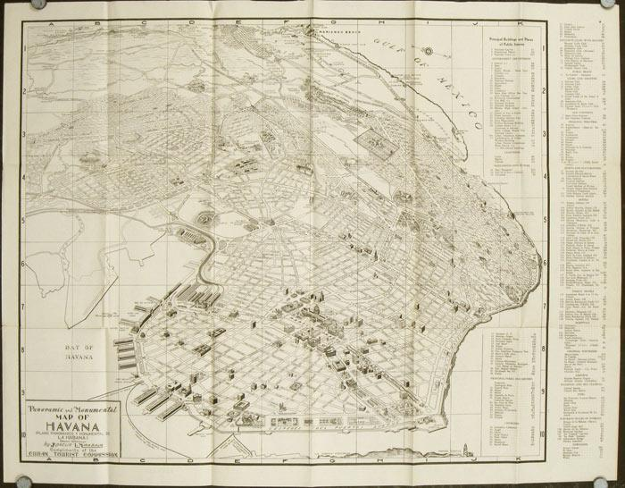 Panoramic and Monumental Map of Havana 1948