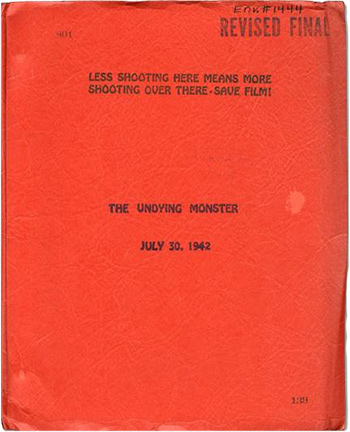 Screenplay: The Undying Monster