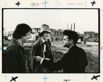 Two original photos from the set of David Lynch's 1977 movie Eraserhead.