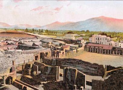 Blick auf die Überreste von Pompeji