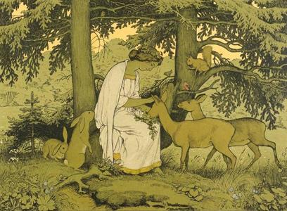Mädchen mit Waldtieren