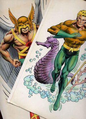 Originalzeichnungen von Aquaman und Hawkman