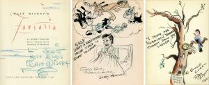 Walt Disney's Fantasia mit zahlreichen Signaturen und Zeichnungen