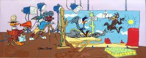 Seltener Originalprint von Chuck Jones mit Bugs Bunny, Duffy Duck, dem Road Runner und Wile E Coyete
