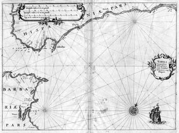 Seekarte der Meerenge von Gibraltar