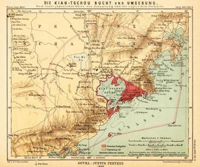 Karte der Kiau-Tschou Bucht in China