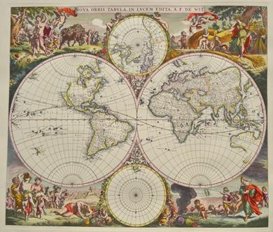 Reprint einer Weltkarte von 1673