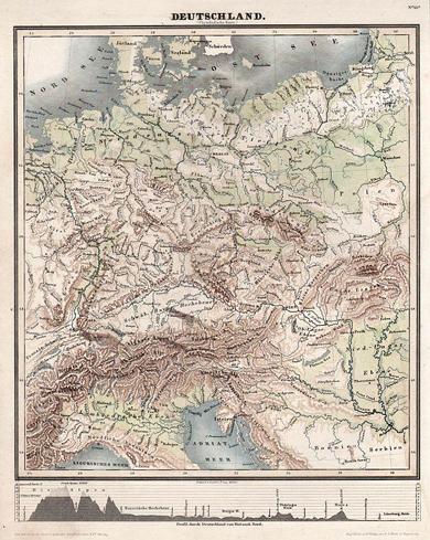 Physikalische Karte von Deutschland