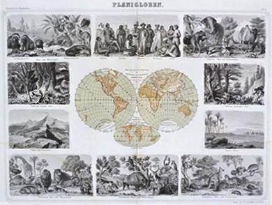 Planigloben aus dem Illustrirten Handatlas von Brockhaus