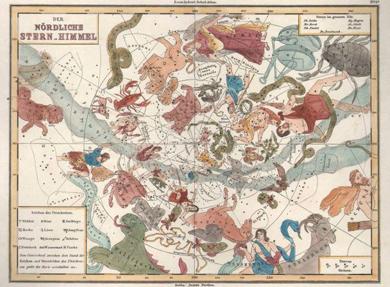 Karte des Sternenhimmels mit Tierkreiszeichen