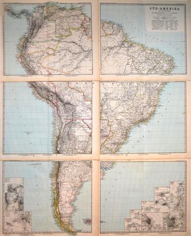 6-teilige Karte von Süd-Amerika
