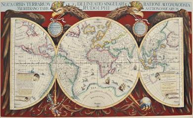 Reprint einer Weltkarte von 1630