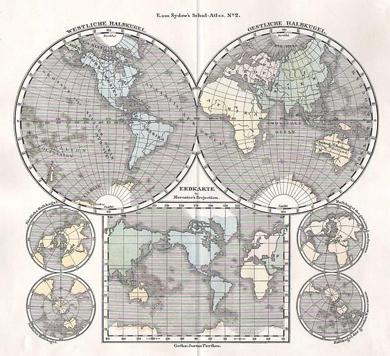 Weltkarte miter Mercators Projektion und vier kleinen Globen