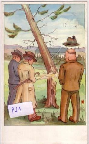 Drei Männer urinieren auf einen Baum