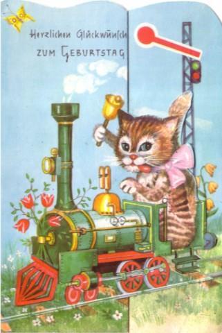 Geburtstagskarte Katze auf Lok
