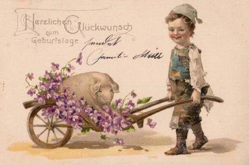 Geburtstagskarte mit Schwein