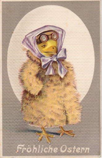 Osterpostkarte mit Küken im Pelz