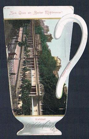 Ansichtskarte von Karlsbad in Becherform