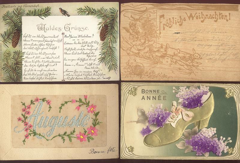 4 Karten aus ungewöhnlichen Materialien