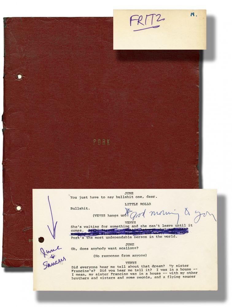 Drehbuch zu Pork mit Notizen von Warhol