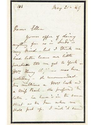Charlotte Brontë an ihre Freundin Ellen Nussey