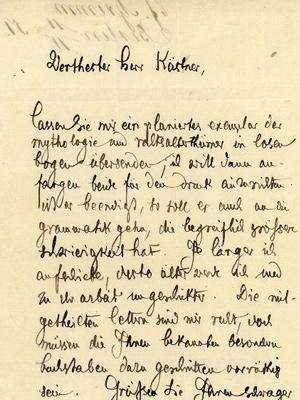 Jacob Grimm an seinen Verleger Kästner