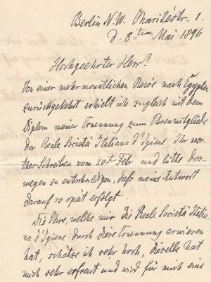 Robert Koch an den Hygieniker Giuseppe Sormani