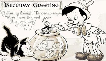 Vintage Pinocchio Geburtstagskarte