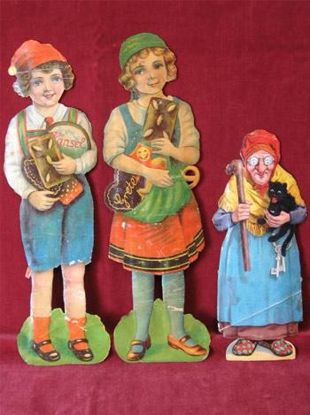 Große Oblaten-Lackbilder Hänsel, Gretel und die Hexe