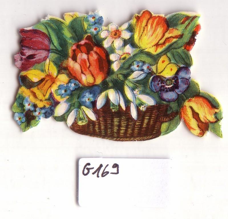 Glanzbild Blumen im Korb