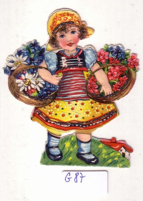 Glanzbild Blumenmädchen in Tracht