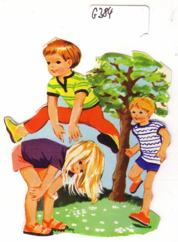 Glanzbild Kinder spielen Bockspringen