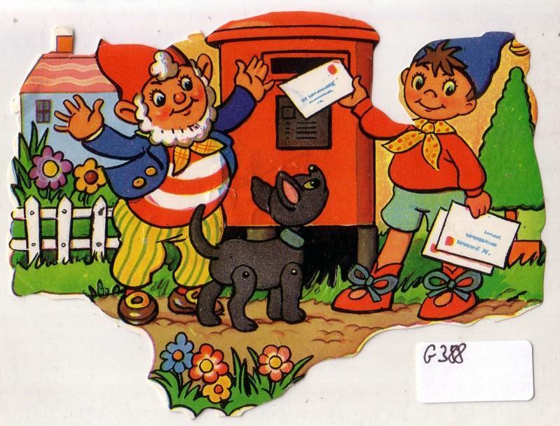 Glanzbild Zwerge werfen Briefe in roten Briefkasten