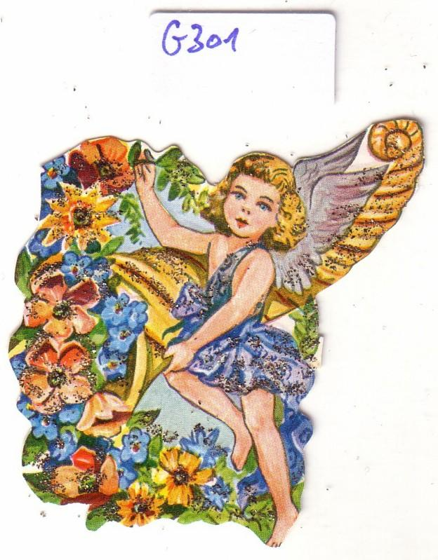 Glanzbild Engel mit Füllhorn