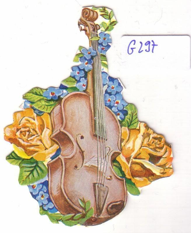 Glanzbild Geige mit Blumenschmuck