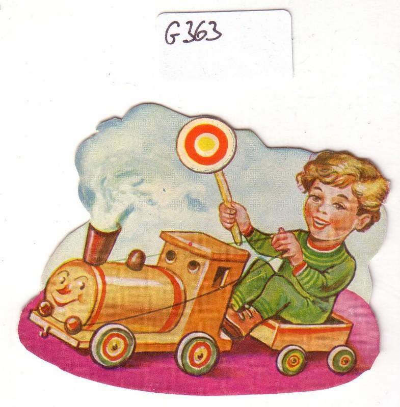 Glanzbild Junge sitzt in einer Eisenbahn