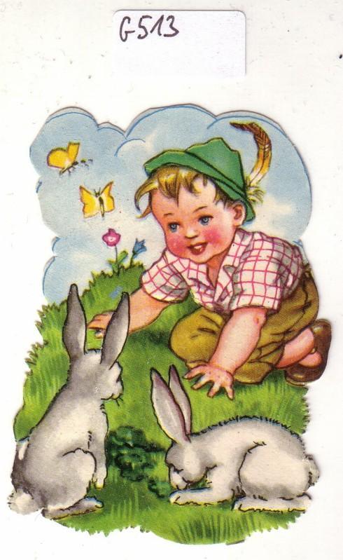 Glanzbild Junge mit Hasen