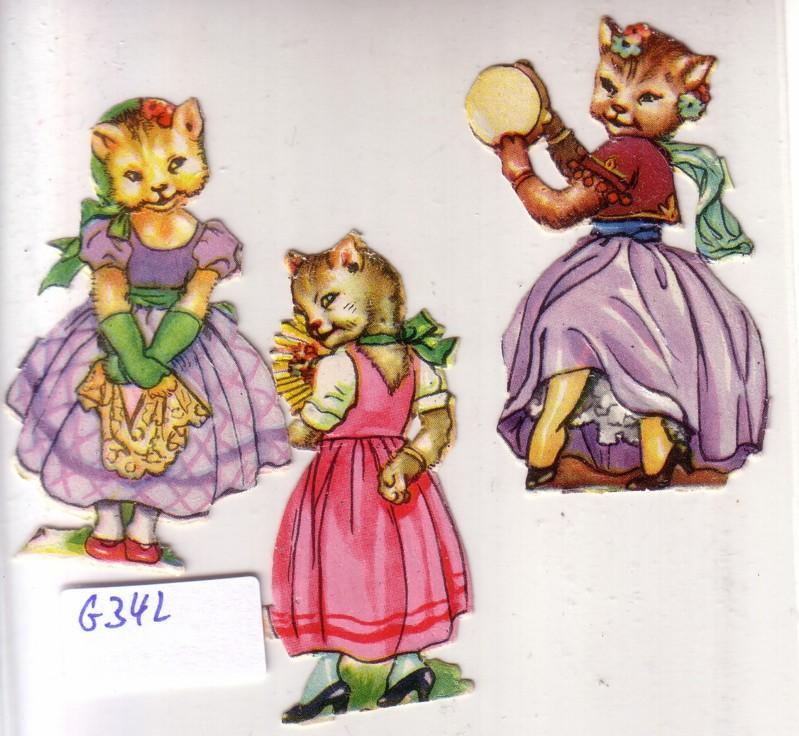 Glanzbild Katze mit Kleid