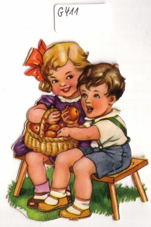Glanzbild Kinder mit Äpfeln