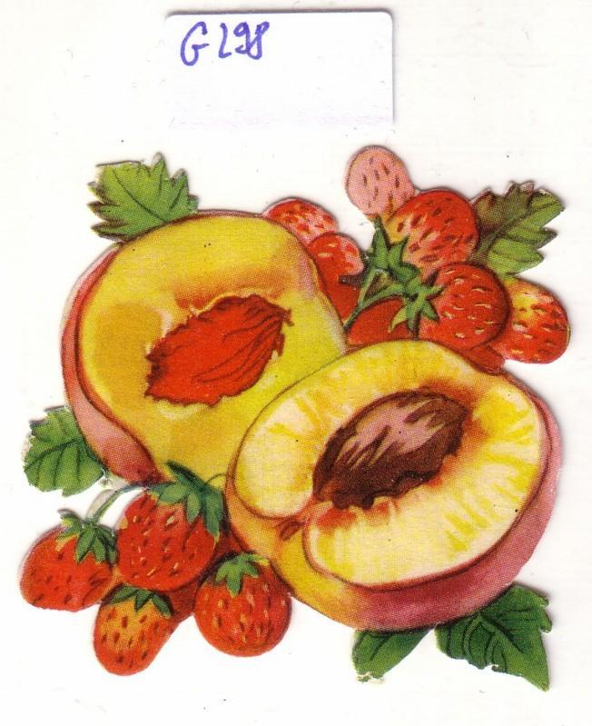 Glanzbild Pfirsich und Erdbeeren